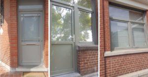 Porte d'entrée en PVC gris ciment, porte + fenêtre en PVC, châssis oscillo battant en PVC
